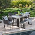Paxton Outdoor 6 Piece Wicker Dining Set with Light Weight Concrete Dining Table and Bench and Cushions, Black, Textured Grey Oak, Grey Cushion