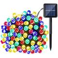 Christmas solar lights 39ft 100 LED Waterproof Outdoor Decoration Lighting for Patio,Lawn,Garden,Holiday,Christmas,Halloween Decorations (Multi-color)