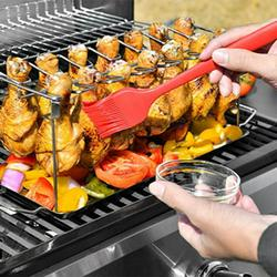 Promotion! Portable BBQ Grill Chicken Leg Wing Rack With Drip Tray Non-stick Surface Folding Barbecue Grill Outdoor Camping Picnic Tool Stainless Steel BBQ Set