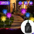 2pcs Solar Lights, Outdoor Solar Lamp Rime Shape Lawn Light LED Stake Lights, IP66 Waterproof Solar Garden Lights Decorative Lights for Backyard Patio Landscape Lawn Yard Pathway (Pink/Yellow/Blue)