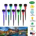 Solar Lights Outdoor, 10 Pack 7 Color Changing Outdoor Solar Lights - Waterproof, Solar Powered Outdoor Lights Solar Garden Lights for Pathway Walkway Yard & Lawn