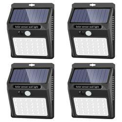 Solar Lights Outdoor, 30 LED Solar Security Lights Solar Flood Lights Solar Motion Sensor Lights Wall Light Wireless IP 65 Waterproof Outdoor Lights for Garden Fence Patio Garage (4 Pack)