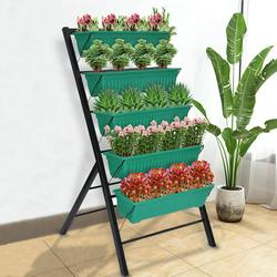 MIUOWANP Raised Garden Bed 5-Tier Vertical Planter Freestanding Elevated Planters with 5 Container Boxes for Indoor/Outdoor Patio Balcony Gardening, Cascading Water Drainage
