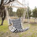 Hammock Cotton Hanging Rope Swing Seat, Indoor Outdoor Relax Hanging Rope Swing Chair for White and Black Stripe Swing Chair, Garden,Patio,Yard