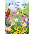 """Welcome Friends Birds Flowers Butterfly Double Sided Garden Yard Flag 12"""" x 18"""", Summer Spring Flowers Daisy Hummingbirds Decorative Garden Flag Banner for Outdoor Home Decor Party"""
