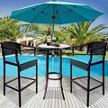 Outdoor High Top Table and Chair, Patio Furniture High Top Table Set with Glass Coffee Table, Removable Cushions, Outdoor Bar Table with Chair, Patio Bistro Set for Backyard Poolside Balcony, Q17052