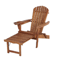 Classic Walnut Adirondack Chaise Lounge Chair Foldable, cup and glass holder, built in ottoman
