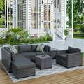 Patio Furniture Sectional Sofa Set, 8 PCS Rattan Wicker Sofa Set, Premium All-Weather Sofa Couch Conversation Set w/2 Glass Tables and 13 Zippered Cushions for Deck Garden Backyard Poolside, K2456