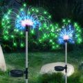 Solar Fireworks Lights, Solar Light Outdoor Decorative,Solar Garden Light, 120LED Waterproof Garden Landscape Lights with 8 Modes for Pathway,Christmas Decor,courtyards(RGB-Oval-2Pack) Color: RGB-Oval