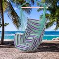 KEPEAK Hanging Chair, Cotton Canvas Hanging Rope Chair with Pillows Hammock Stand Chair Swing Chair , for Indoor Outdoor Garden Patio Courtyard Porch