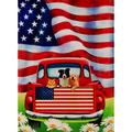Decorative Outdoor 4th of July Dog Flowers Garden Flag Double Sided, Rustic Farm Old Red Truck House Yard Flag Daisy, Home American Holiday USA Seasonal Outdoor Flag 12.5 x 18 Gift