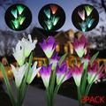 EEEkit Waterproof Outdoor Solar Garden Stake Lights, 2pcs Solar Powered Lights with 8 Lily Flowers, Auto Changing 7-Colors LED Solar Landscape Lighting Lily Light for Garden Patio Yard Decoration