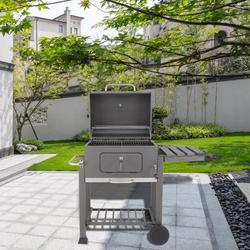 Portable Charcoal Grill, Outdoor Charcoal Grills with Plastic Wheel, Charcoal BBQ Grills Outdoor, Portable Charcoal Barbeque Grills, Enamel Charcoal Grill for Parties Camping Outdoor Barbecue, R796
