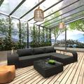Mgaxyff 8 Piece Garden Lounge Set with Cushions Poly Rattan Black