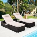 uhomepro 2-Piece Pool Chairs, Patio Chaise Loungers, Chaise Lounge Chair Outdoor Set Pool Furniture, Couch Cushioned Recliner Chair with Adjustable Back, Side Table, Head Pillow, Beige, Q18160
