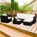Outdoor Patio Conversation Set, 4PCS PE Rattan Wicker Sofa Set, Outdoor Sectional Furniture Set with 3-Seater Sofa, Cushions and Tea Table, All-Weather Bistro Set for Garden Lawn Poolside, K2805