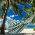 Hammocks Polyester Cotton Hammock Chair 2-Person Brazilian Cotton Double Hammock Bed w/ Portable Carrying Bag Rainbow