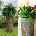Bushy Box Large Stump Planter. Outdoor Garden Yard, Porch and Patio Pot. Tall Rustic Natural Well Pump Cover Fake Rock Decor. Hide Utilities