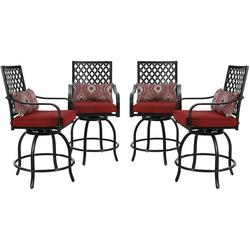 MF Studio 4-Piece Patio Dining Chairs Outdoor Swivel Bar Stools Extra Wide Height Modern Patio Furniture Suitable for Patio Garden Porch Dining Room with Red Cushion
