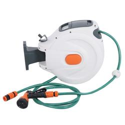 Octpeak Wall Mounted Hose Reel,Wall Mounted Retractable Garden Water Hose Reel with 20m Pipes Watering Equipment,Retractable Hose Reel