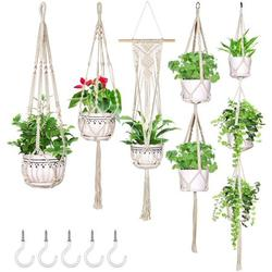 5 Pack Macrame Plant Hanger Hanging Planters with 5 Hooks, Handmade Cotton Rope Hanging Plant Decorative Flower Pot Holder for Indoor Outdoor Boho Home Decor, Different Tiers (5 Sizes)