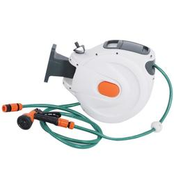 Mgaxyff Garden Hose Reel,Hose Reel,Wall Mounted Retractable Garden Water Hose Reel with 20m Pipes Watering Equipment