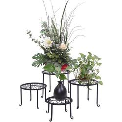 ROBOT-GXG Metal Plant Stand - Flower Pot Stand - Set of 4 Indoor Outdoor Metal Plant Stand Floor Flower Pot Planter Holder Metal Iron Round Flower Planter Holder Display Rack for Garden Patio Lawn