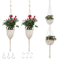 3 Pack Plant Holders Indoor Outdoor Macrame Plant Hangers Hanging Planters Pot Stand(Pots and Plants NOT Included)