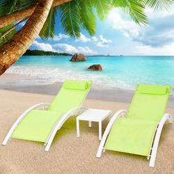 Hemousy 3Pcs Set Zero Gravity Chairs Patio Lounge Chairs Adjustable Chaise Lounges Folding Recliner for Patio, Garden, Backyard, Beach,Poolside With Table Green