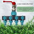 Anself 4 Way Hose Splitter, Hose Splitter for Garden 4 Way Shut Off Valve Hose Nozzles Water Tap Converter Connector Splitter Hose Adapter Garden Irrigation Watering Tool