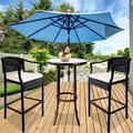 Outdoor High Top Table and Chair, Patio Furniture High Top Table Set with Glass Coffee Table, Removable Cushions, Outdoor Bar Table with Chair, Patio Bistro Set for Backyard Poolside Balcony, Q17066