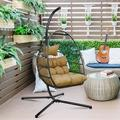 Outdoor Patio Wicker Hanging Egg Chair Rattan Swing Chair Egg Hammock Chair with Soft Cushion