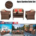 SOOSISI Wide Rattan Double Contiguous Rattan Four-Piece Suit Double Sofa 1 Double Coffee Table Outdoor Wicker Furniture Set with 4 Pillows and 8 Cushions 4Pcs Rattan Patio Furniture Set