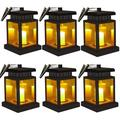 Solar Lamp - OKSSTONE Hanging Solar Lights Outdoor Decorative Solar Powered LED Light for Patio Landscape Yard Flameless Candles Flickering (Yellow Warm,6 Pack)