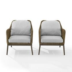 Crosley Furniture Haven Weather Resistant Wicker Outdoor Lounge Chair - Set of 2 - Light Brown/Gray
