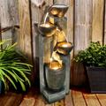 4-Tier Pots Outdoor Water Fountain for Garden - Outdoor Waterfall Fountain for Yard, Floor Patio, Backyard and Home Art Décor