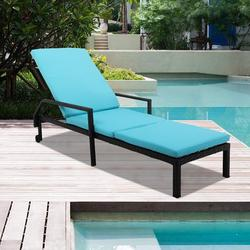 Patio Rattan Lounge Chair Chaise Recliner, Outdoor Patio Furniture Set for Poolside Garden Beach, Reclining Rattan Lounge Chair Chaise Couch Cushioned with Adjustable Back, 2 Wheels, 1PC, Q17046