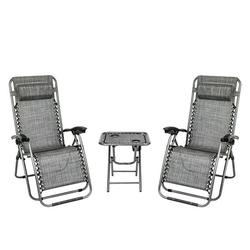 2 PCS Zero Gravity Chair Lounge Outdoor Chairs with Side Table, Adjustable Folding Lounge Recliners with Head Rest Pillow, Lounge Chair Outdoor for Garden Yard Beach Poolside