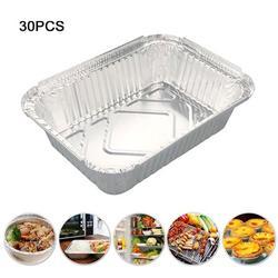 30 Pcs BBQ Aluminum Foil Grease Drip Pans Disposable Grill Catch Tray;30 Pcs BBQ Aluminum Foil Grease Drip Pans Disposable Grill Catch Tray