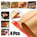 4PCS Grill and Bake Mats BQ Grill Mats Reusable Pads Non-Stick BBQ Grilling Mat Cook Grate Cover with Barbecue Brush, Heat Resistant for Home Camping Hiking Outdoor (40x33cm/15.7x13inch)