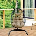 Swing Chair, Indoor-Outdoor Hanging Chair, Patio Egg Chair with U-Shaped Stand, Metal Frame and Wicker Seat, Hammock Chair with Cushion, Patio Egg Chair for Indoor/Outdoor, Brown, L1624