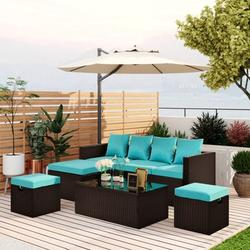 Pannow 5-Piece Patio Furniture Set PE Rattan Wicker Sectional Lounger Sofa Set with Glass Table and Adjustable Chair,Patio Furniture Sets,Furniture Stores Near Me,Black & Blue