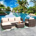 Patio Furniture Sets, 4-Piece Outdoor Sectional Sofa Set with Loveseat and Lounge Sofa, Armchair, Coffee Table, All-Weather Wicker Furniture Conversation Set for Backyard Garden, Q16508