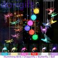 Solar String Lights, Color Changing Solar Dragonfly Wind Chimes, LED Decorative Mobile, Waterproof Outdoor String Lights for Patio, Balcony, Bedroom, Party, Yard, Window, Garden