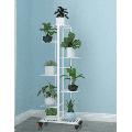 Metal Planter Stand with Wheels Indoor Outdoor 4/6 Tiers Corner Planter Shelf Display Flower Pots Holder Rolling Planter Rack for 5/7 Potted Flower Pots