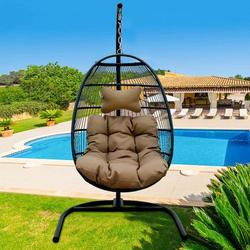UHOMEPRO Resin Wicker Hanging Egg Chair with Cushion and Stand, UV Resistant Outdoor Patio Hanging Egg Chair with Iron Frame, Heavy Duty Swing Chair Backyard Relax with Headrest Pillow, Q17130
