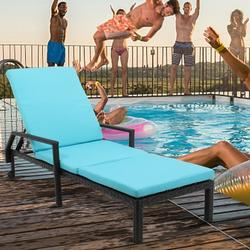 Patio Chaise Lounge, Removeble Reclining Camping Chair with Wheel, Adjustable PE Rattan Sun Recliner Chair with Seat Cushion, Poolside Garden Outdoor Chaise Lounge Chairs, JA1096