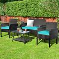 4Pcs Patio Rattan Wicker Furniture Set Conversation Sofa Bench Cushion-Turqiose