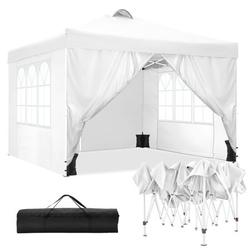 118.1x118.1inch Outdoor Waterproof Canopy Tent Family Parties Backyard Tent with 4 Removable Panels, Ajustable Height UV Protection Shade Beach Swim Tent w/Accessories