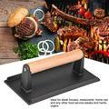 OTVIAP Meat Press, Bacon Press,Commercial Cast Iron Steak Weight Wooden Handle Bacon Grill Hamburger Press